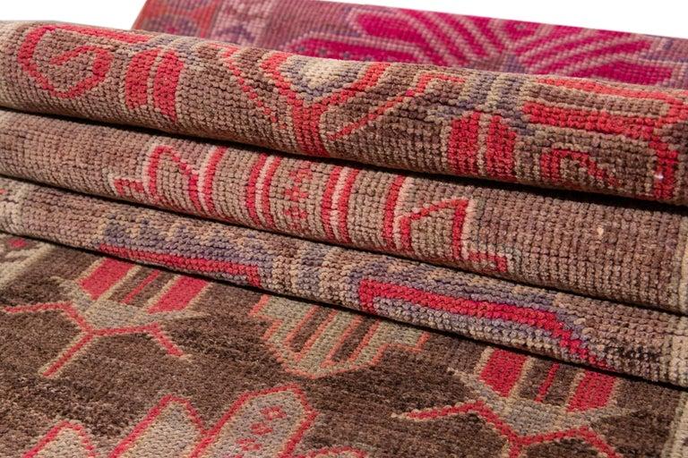 Brown Vintage Turkish Wool Runner For Sale 12