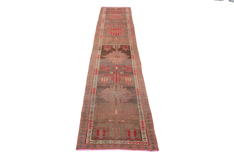 Hand-Knotted Brown Vintage Turkish Wool Runner For Sale