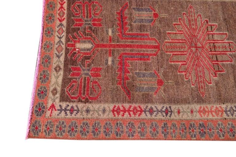 Brown Vintage Turkish Wool Runner In Excellent Condition For Sale In Norwalk, CT