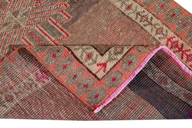 20th Century Brown Vintage Turkish Wool Runner For Sale
