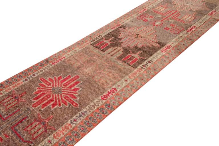 Brown Vintage Turkish Wool Runner For Sale 1