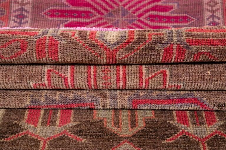 Brown Vintage Turkish Wool Runner For Sale 2
