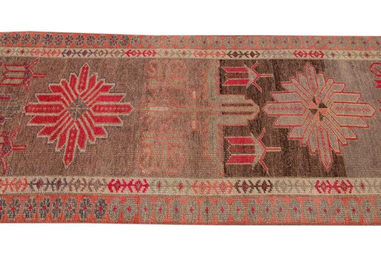 Brown Vintage Turkish Wool Runner For Sale 3