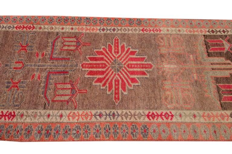 Brown Vintage Turkish Wool Runner For Sale 4