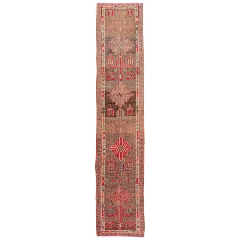 Brown Vintage Turkish Wool Runner For Sale