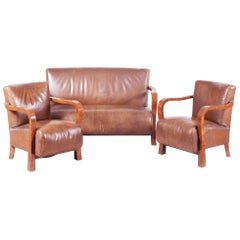 Brown Walnut Art Deco Three-Piece Suite, Preserved Condition and Leather, 1930s