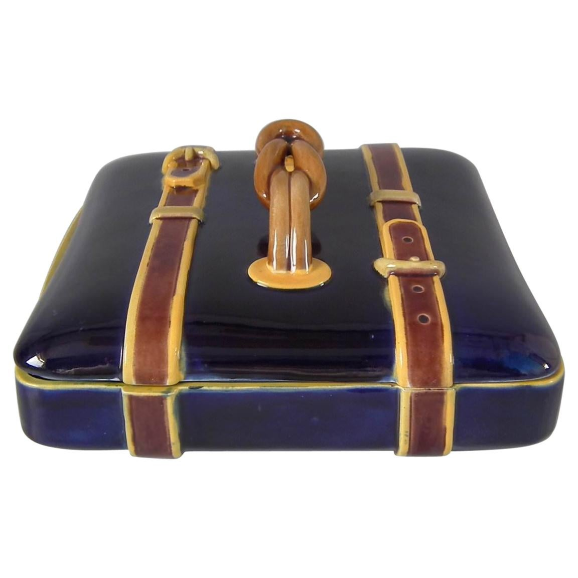 Brown Westhead Moore and Co. Majolica Belted Suitcase Box and Cover