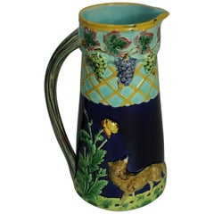 Brown Westhead Moore & Co Majolica Fox and Grape Pitcher