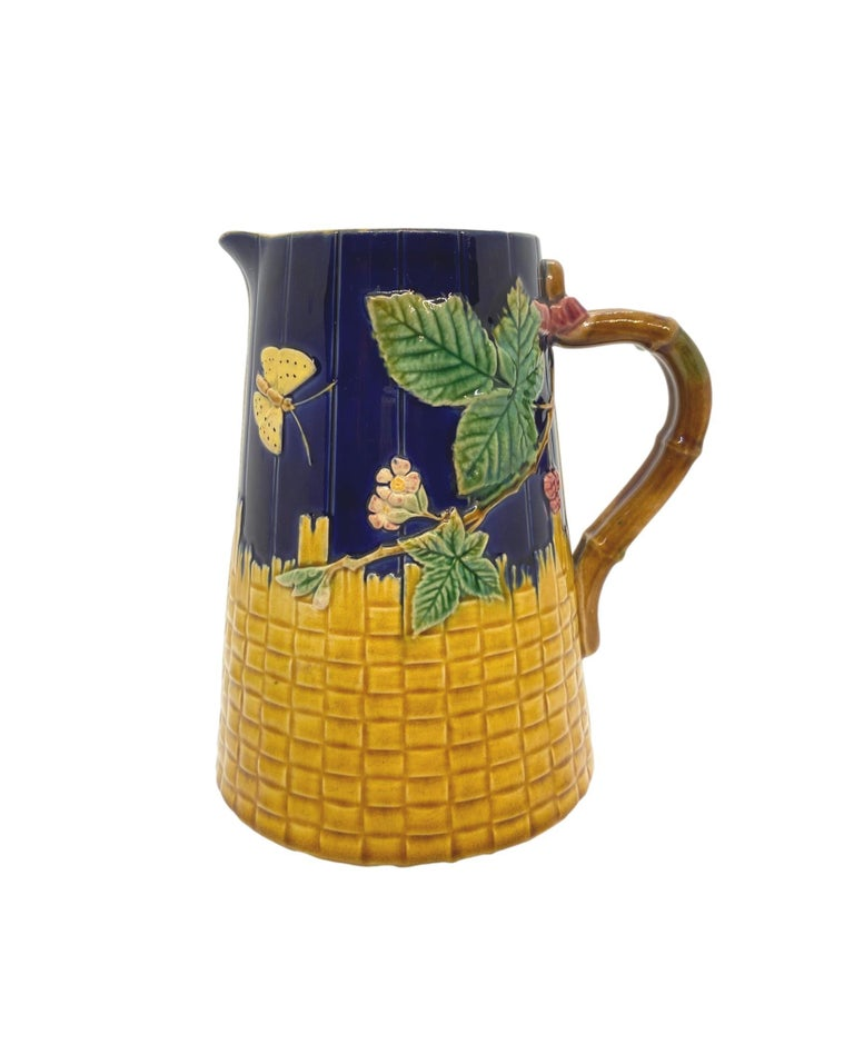 Victorian Brown-Westhead Moore Majolica Butterfly and Basketweave Pitcher, Cobalt, c. 1873 For Sale