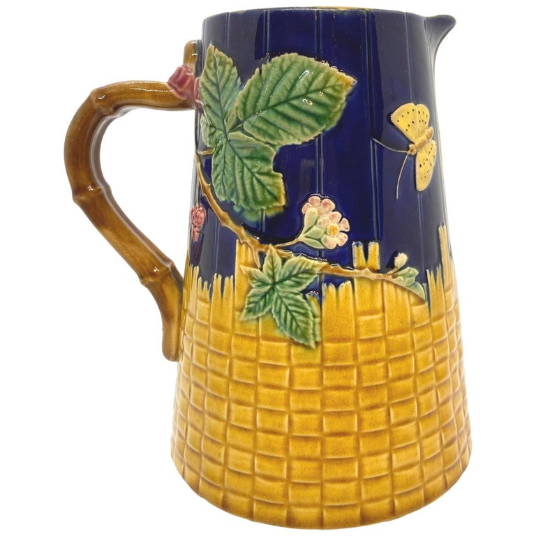 Brown-Westhead Moore Majolica Butterfly and Basketweave Pitcher, Cobalt, c. 1873 For Sale