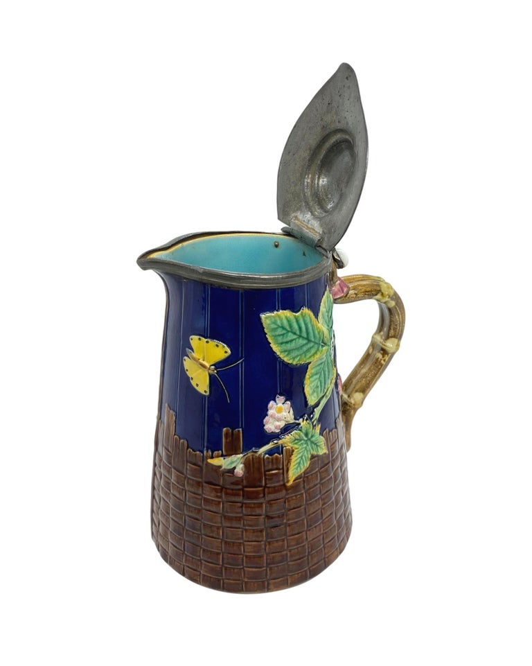 English Brown-Westhead Moore Majolica Butterfly Pitcher, Pewter Lid, Cobalt, c. 1873 For Sale