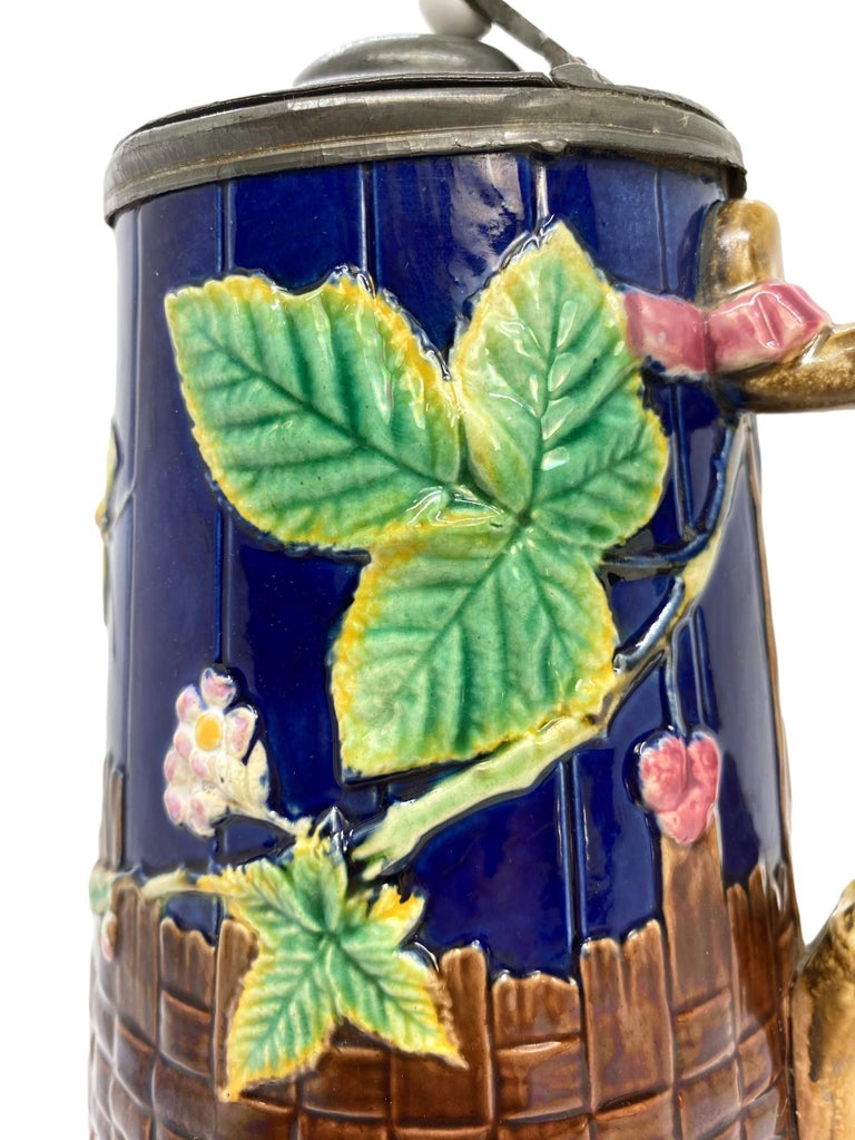 Molded Brown-Westhead Moore Majolica Butterfly Pitcher, Pewter Lid, Cobalt, c. 1873 For Sale
