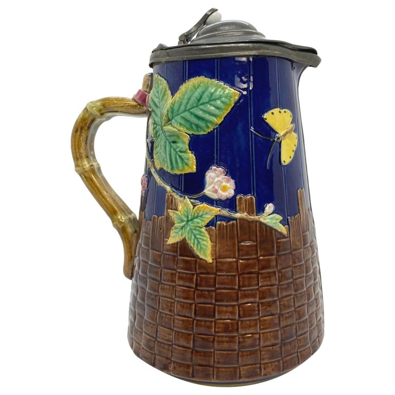 Brown-Westhead Moore Majolica Butterfly Pitcher, Pewter Lid, Cobalt, c. 1873 For Sale