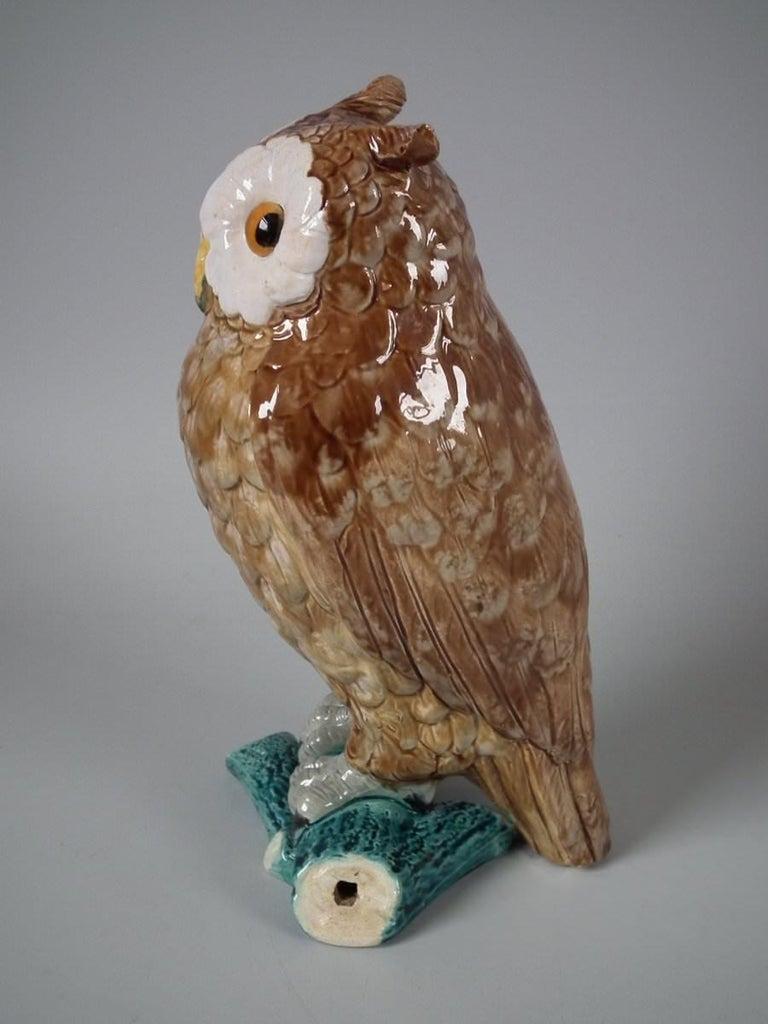 English Brown Westhead Moore Majolica Owl Figure For Sale