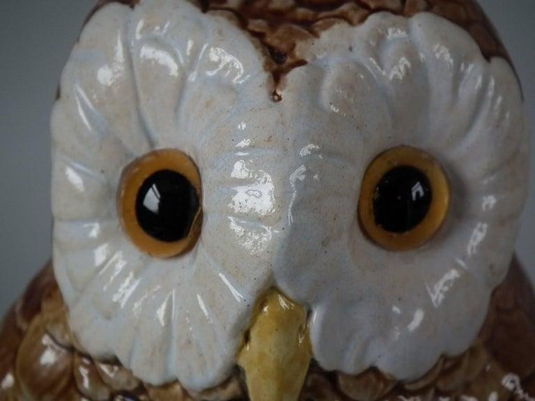 Brown Westhead Moore Majolica Owl Figure For Sale 1