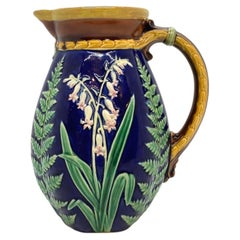 Brown-Westhead Moore Majolica Pitcher Lilies of the Valley and Ferns on Cobalt