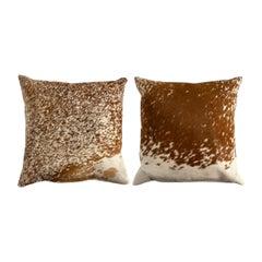 Brown & White Cowhide Throw Pillows, a Pair