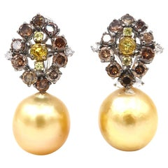 Brown White Diamond Yellow Sapphire Cluster Gold South Sea Pearl Drop Earrings