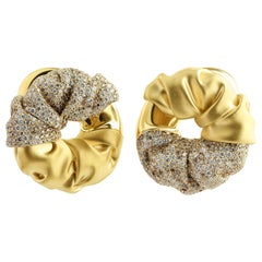 Brown White Diamonds 18 Karat Yellow Gold Earrings