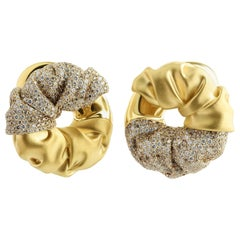 Brown White Diamonds 18 Karat Yellow Gold Earrings