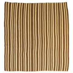 Brown White Stripe Mid-Century Modern Vintage Turkish Striped Square Size Kilim