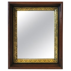 Brown Wood and Gold Giltwood Framed Wall or Vanity Mirror