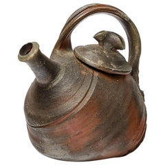 Brown Wood-Firing Ceramic Tea Pot by Jo Miquel  1993 mid-century French Design