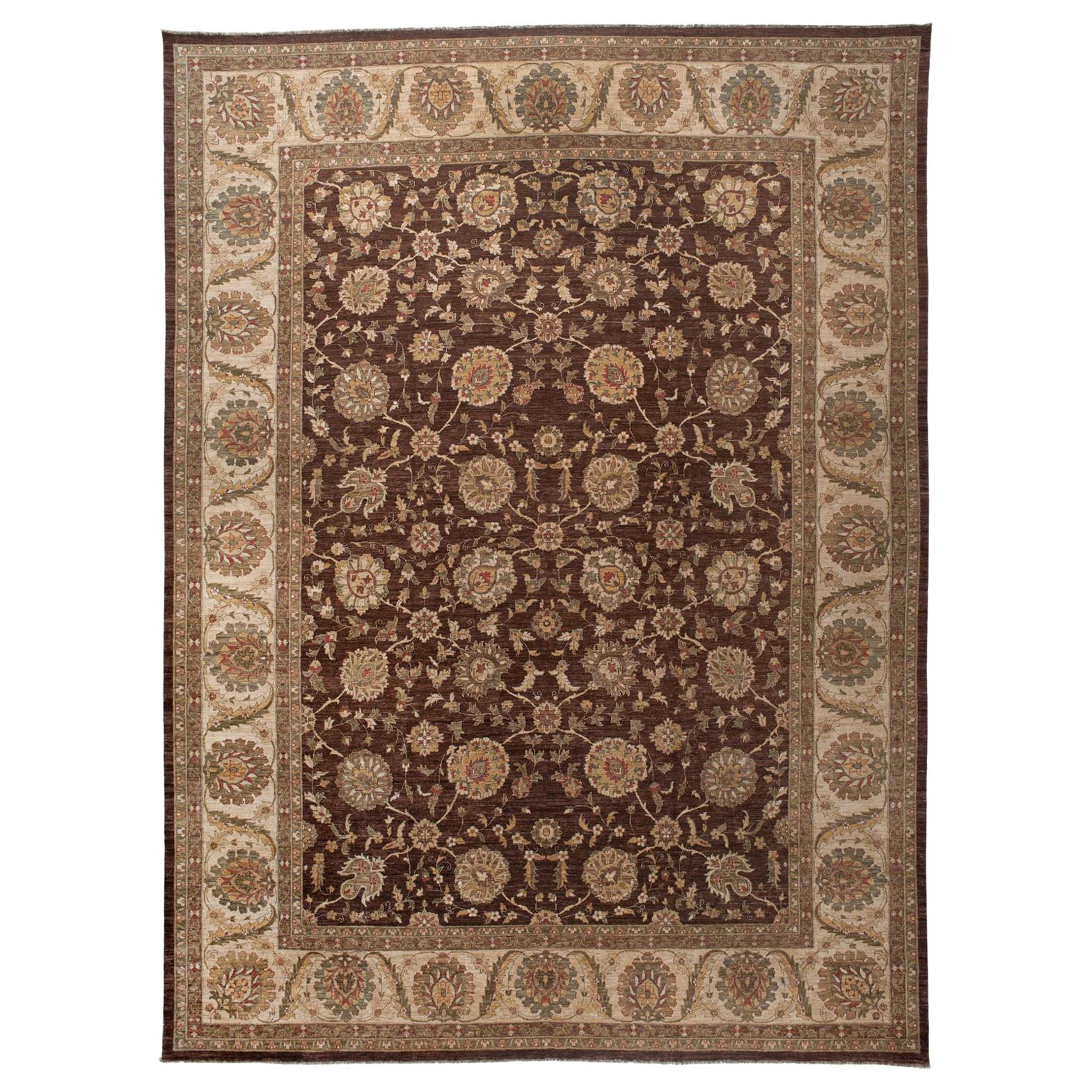 Brown Wool Area Rug with Floral Garland