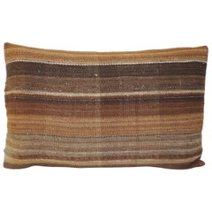Brown Woven Turkish Stripe Decorative Bolster Pillow