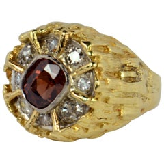 Brown Zircon Diamond Gold Modernist Ring