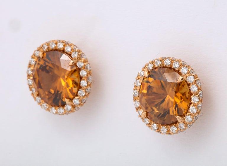 Brown Zircon Diamond Rose Gold Earrings For Sale 1
