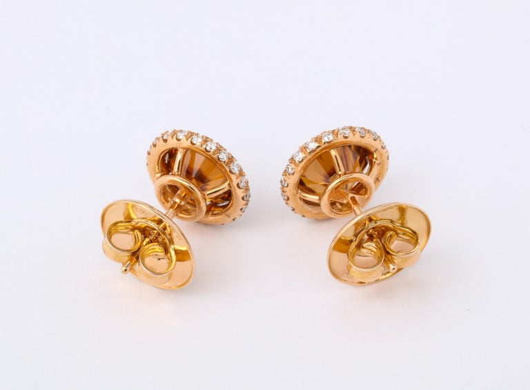Brown Zircon Diamond Rose Gold Earrings For Sale 2