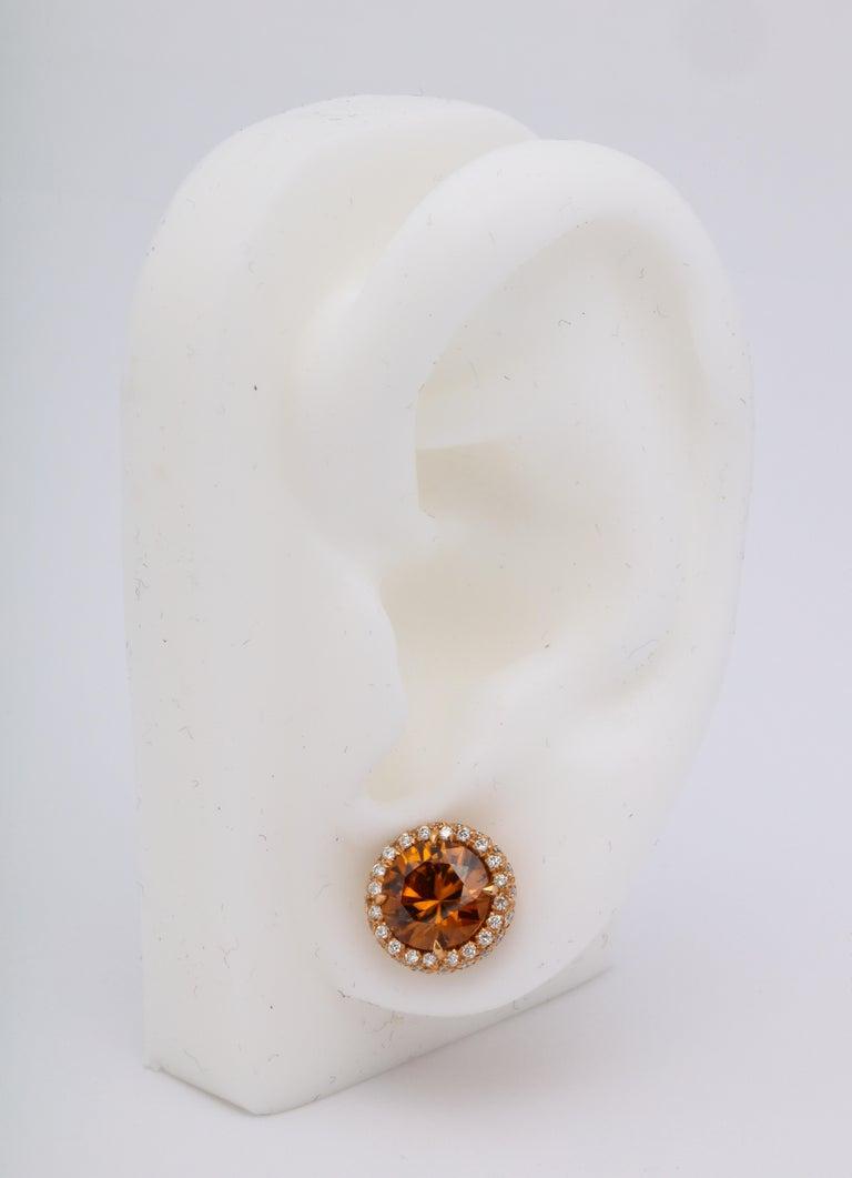 Brown Zircon Diamond Rose Gold Earrings For Sale 3