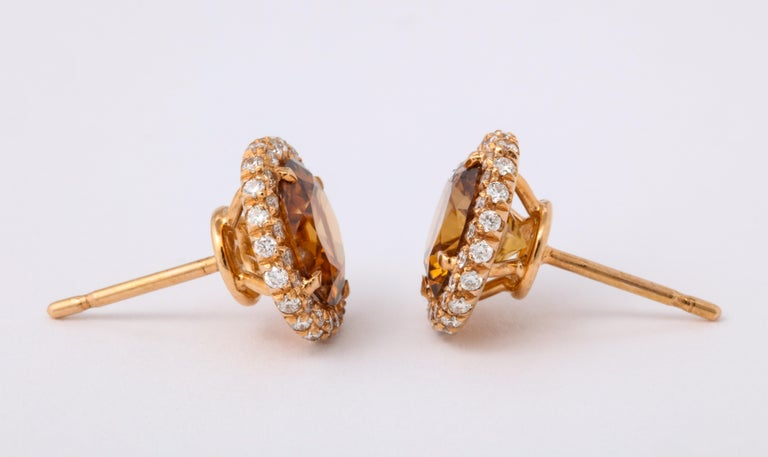 Brown Zircon Diamond Rose Gold Earrings For Sale 4