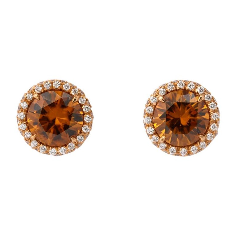 Brown Zircon Diamond Rose Gold Earrings For Sale