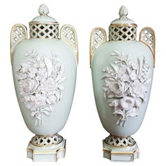 English Mint Green Brownfield 19th Century Encrusted Floral Reticulated Vases