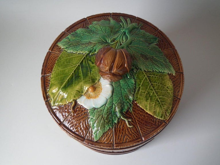 English Brownfield Majolica Chestnut Cheese Dome & Stand For Sale