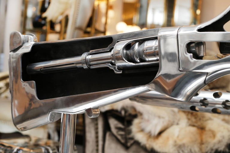 American Browning Double Size Rifle Sculpture All Chromed For Sale