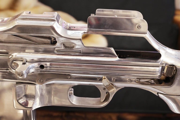 Mid-20th Century Browning Double Size Rifle Sculpture All Chromed For Sale