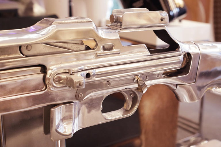 Browning Double Size Rifle Sculpture All Chromed For Sale 1