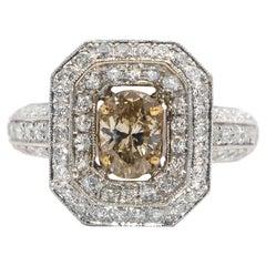 Brownish Diamond 0.90 Carat Ring with Diamond Setting 1.85 Carat