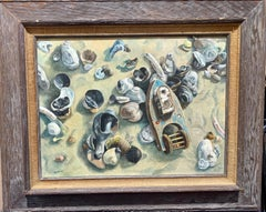 American oil painting, Still life of Sea Shells Late 20th Century