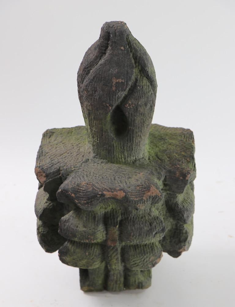 Art Nouveau Brownstone Building  Finial Fragment in Moss Finish  For Sale