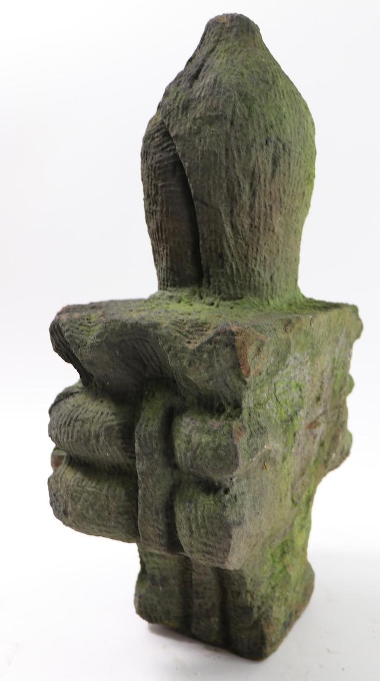 20th Century Brownstone Building  Finial Fragment in Moss Finish  For Sale