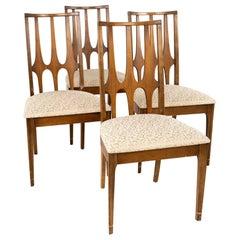 Broyhill Brasilia Brutalist Mid Century Walnut Dining Chairs, Set of 4