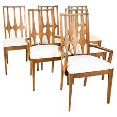 Broyhill Brasilia Brutalist Mid Century Walnut Dining Chairs, Set of 6