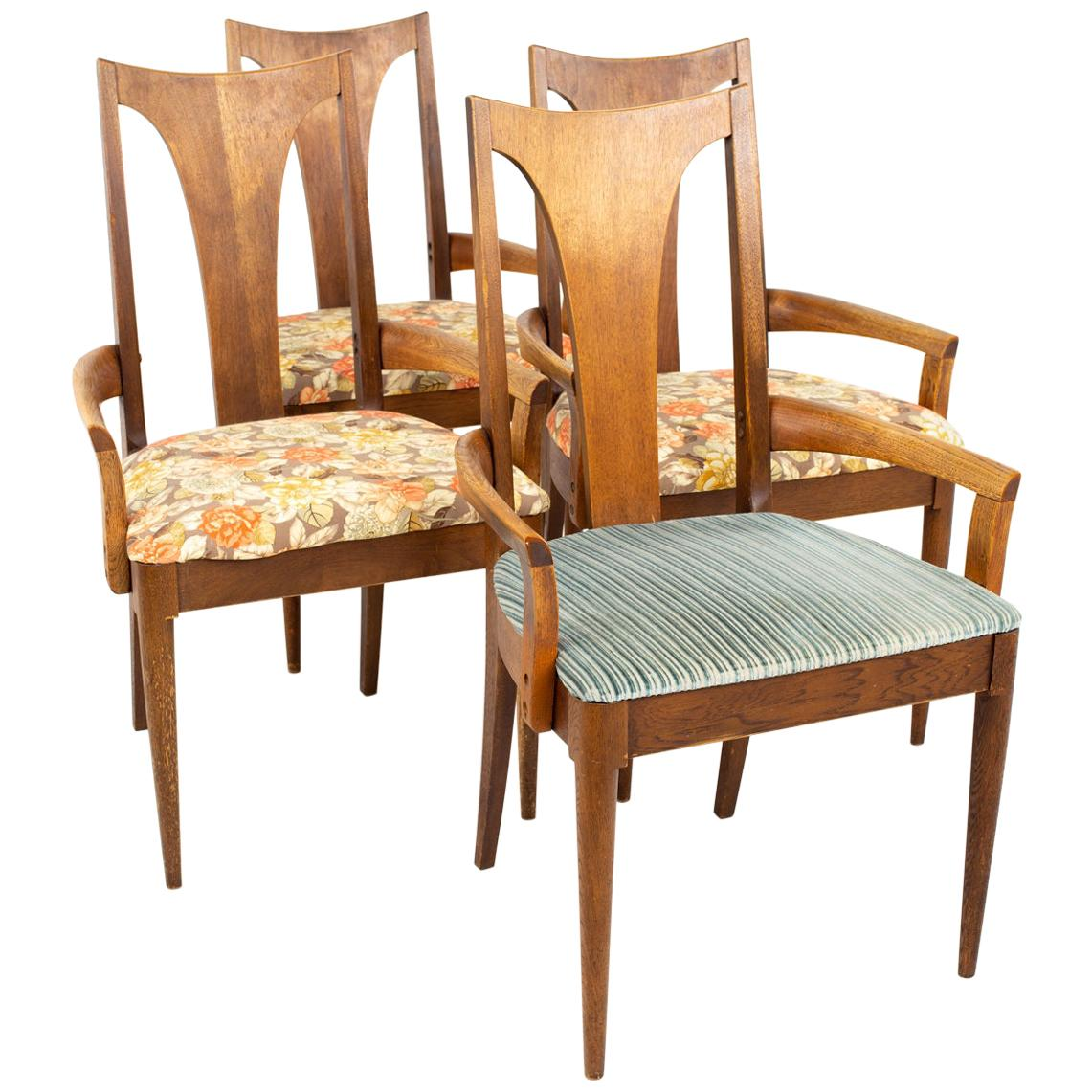 Broyhill Brasilia II Mid Century Walnut Captains Dining Chairs, Set of 4