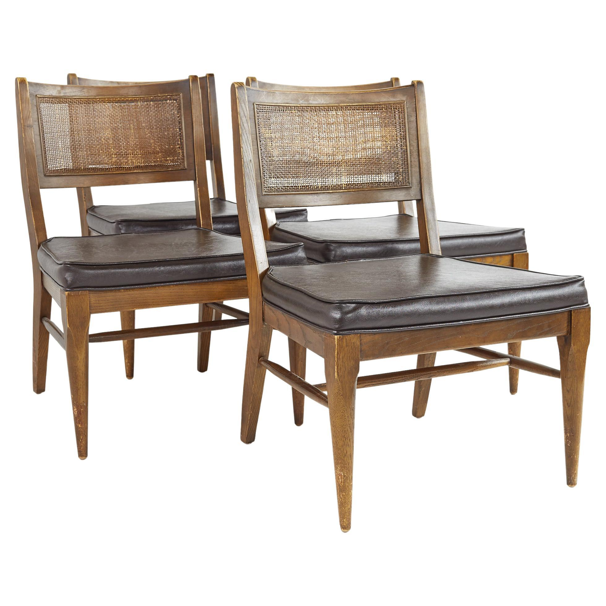 Broyhill Brasilia Mid Century Caned and Walnut Party Chairs, Set of 4
