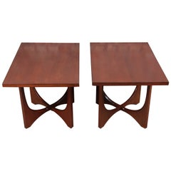 Broyhill Brasilia Mid-Century Modern Sculpted Walnut End Tables, Pair