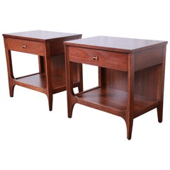 Broyhill Brasilia Mid-Century Modern Sculpted Walnut Nightstands, Newly Restored